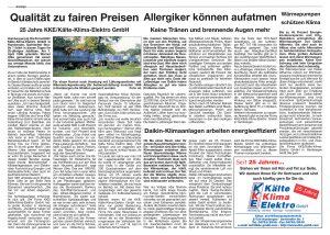 Artikel 25 Jahre KKE im Anzeiger Verlag